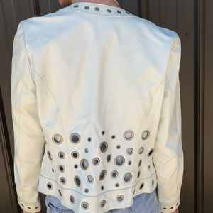 Aria Jackets & Coats - White Leather Jacket